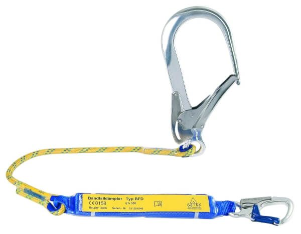 Verbindungsmittel mit Bandfalldämpfer, Seil, Karabiner AXK 10, FS 110, 1,5 m