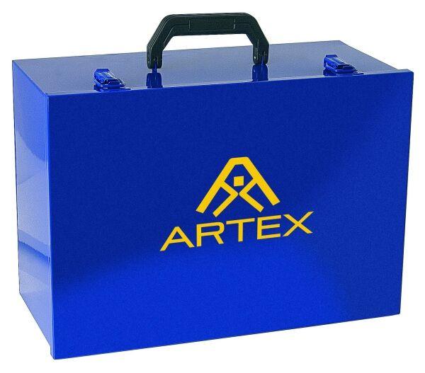 Gerätekoffer aus Stahlblech blau, mit Logo, 400 x 280 x 190 mm