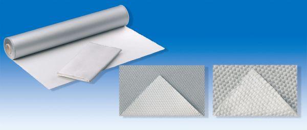 E-Glasgewebe 1000 g, m², Leinwand, beidseitig Alufix, texturiert, bis 600°C, 50 m