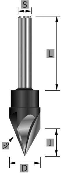 HW-Schriftenfräser 60° Z3 S8 x 64 mm