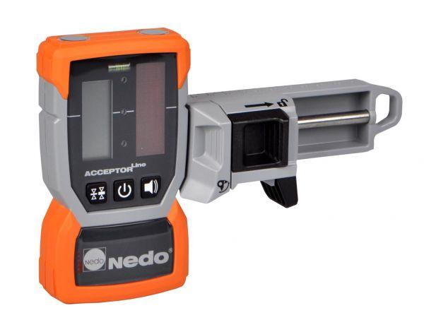 Linien-Laserempfänger ACCEPTOR Line mit multifunktionaler Halteklammer