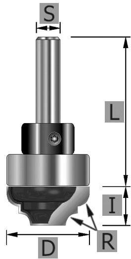 HW-Profilfräser Z2, mit Kugellager, S12 x 50 mm