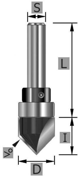 HW V-Nutfräser 90° Z2, mit Kugellager, S8 x 44 mm