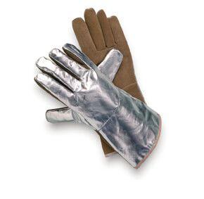 Hitzeschutzhandschuh Sebatanleder, Aluminium, bis 1000°C, 3-Finger