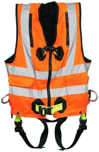 Warnweste AX 75 orange, mit integriertem Auffanggurt AX 60 CW, Gr. L/XL