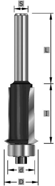 HW-Schattenfugenfräser Z2, mit Kugellager, S8 x 63 mm