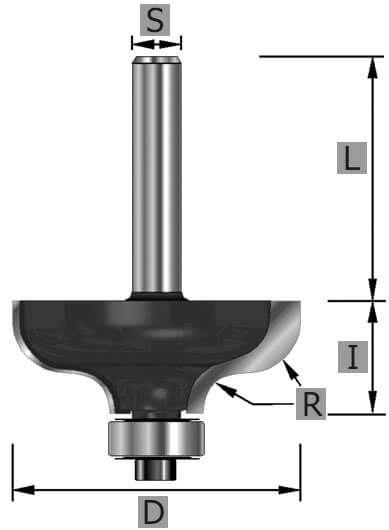 HW-Karnisfräser Z2, mit Kugellager, S6 x 45 mm