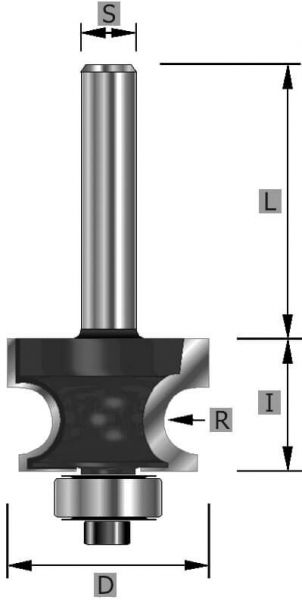 HW-Halbstabfräser Z2, mit Kugllager, S12 x 59 mm