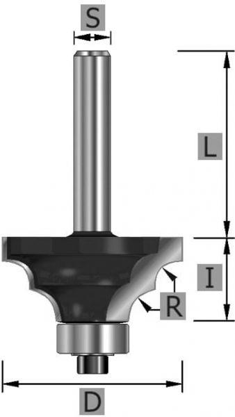 HW-Doppelradienfräser Z2, mit Kugellager, S12 x 58 mm