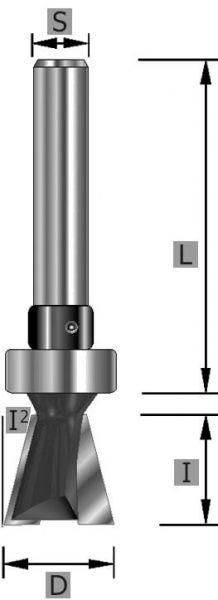 HW-Gratfräser Z2, mit Kugellager, S8 x 49 mm