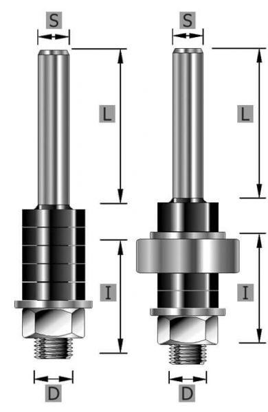 Aufnahmedorn S12 x 69 mm mit Kugellager