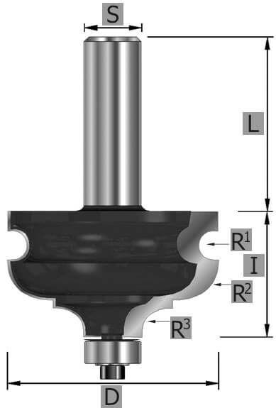 HW-Provinzialfräser Z2, mit Kugellager, S12 x 74 mm