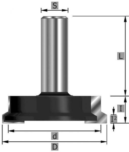 HW-Schubladen-Verleimfräser Z2, S8 x 45 mm
