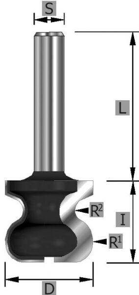 HW-Griffleistenfräser Z2 S8 x 50 mm