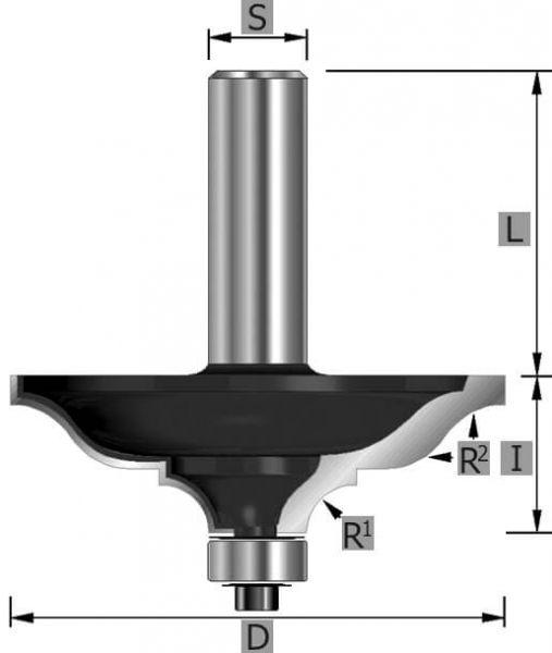 HW-Classic Karnisfräser Z2, mit Kugellager, S12 x 65 mm