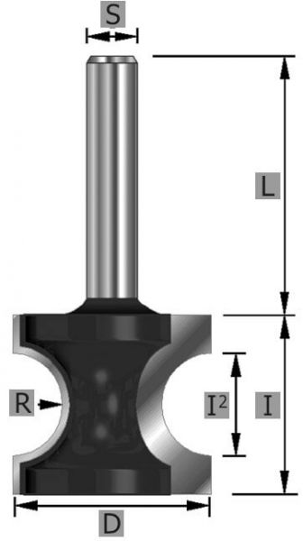 HW-Halbstabfräser Z2 S8 x 48 mm