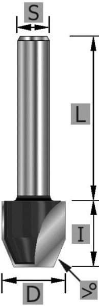 HW-Fase-Bündigfräser 30° Z2 S12 x 53 mm
