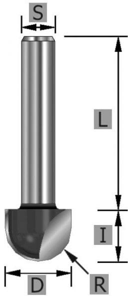 HW Hohlkehlfräser Z2 S8 x 38 mm