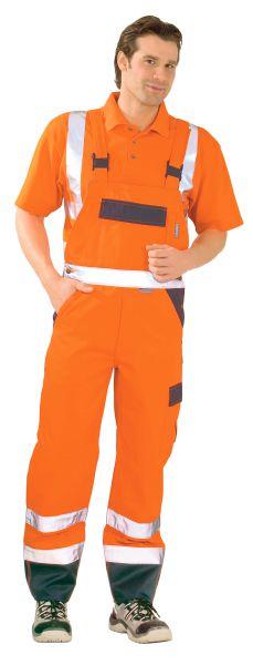 Warnschutz Latzhose orange, marine Gr. 24