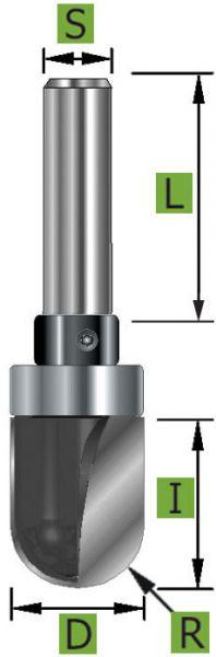 HW-Wasserrinnenfräser Z2, mit Kugellager, S8 x 48 mm