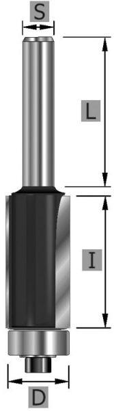 HW-Bündigfräser Z2, mit Kugellager, S8 x 9,5 x 55 mm