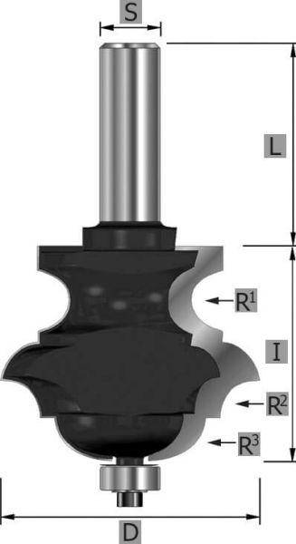 HW-Multiformfräser Z2, mit Kugellager, S12 x 89 mm