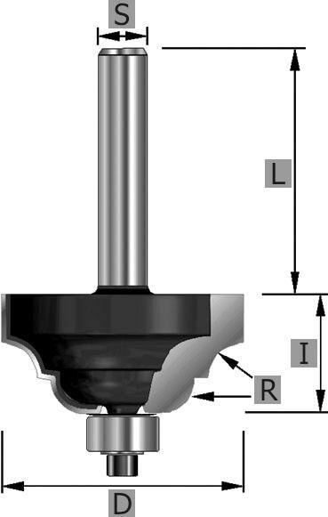 HW-römischer Classic Profilfräser Z2, mit Kugellager, S12 x 58 mm