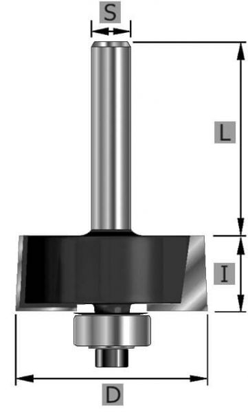 HW-Falzfräser Z2, mit Kugellager, S12 x 53 mm