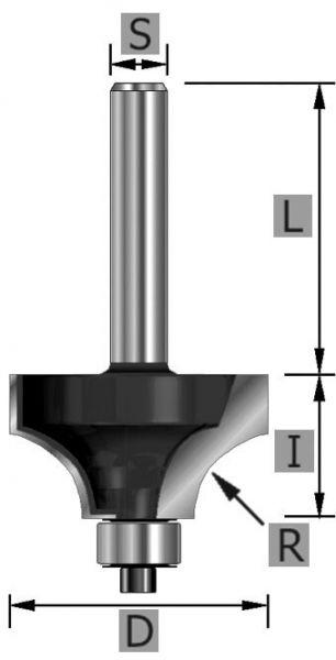 HW-Viertelstabfräser Z2, mit Kugellager unten, S12 x 16,7 x 55 mm