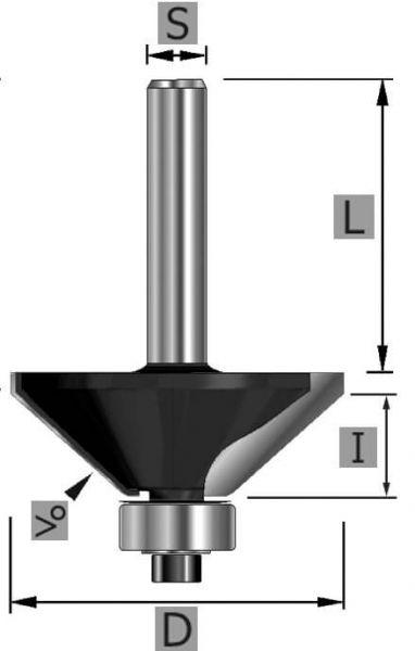 HW-Fasefräser 45° Z2, mit Kugellager unten, S6 x 53 mm