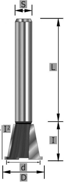 HW-Zinkenfräser Z2 S12 x 54 mm
