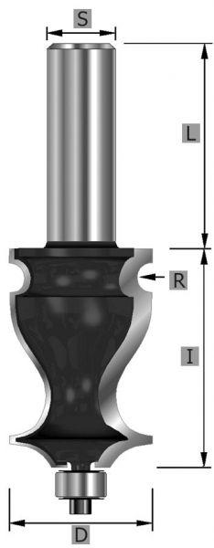 HW-Langprofilfräser Z2, mit Kugellager, S8 x 63 mm