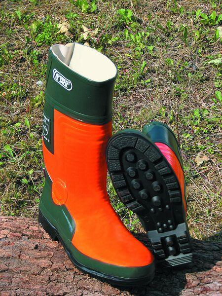 Schnittschutz-Gummistiefel orange, grün Gr. 38