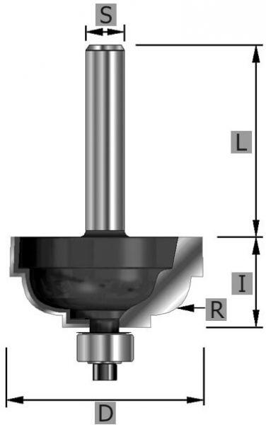 HW-Cavettofräser Z2, mit Kugellager, S12 x 58 mm