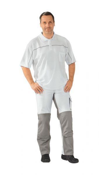 Polo-Shirt weiß ,  zink, Größe XS