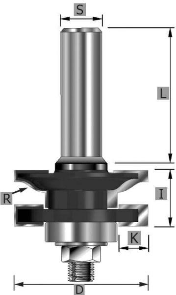 HW-Profil- und Konterprofil Typ B Z2, mit Kugellager, S12 x 70 mm