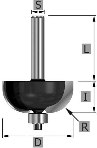 HW-Hohlkehlfräser Z2, mit Kugllager, S8 x 13,5 x 47 mm