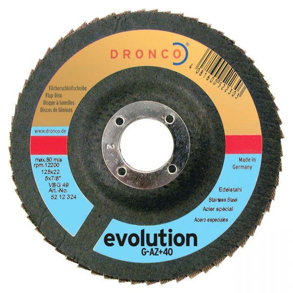Fächerschleifscheiben Zirkonkorund G-AZ+ evolution K40, bombiert, 115 x 22,23 mm