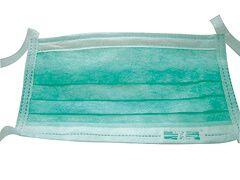OP-Vliesmundschutz grün mit Bändern, 50 Stück
