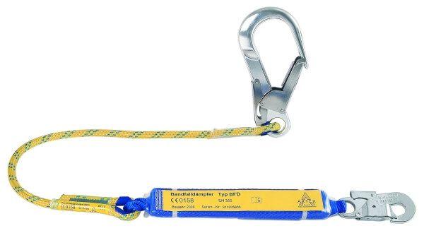 Verbindungsmittel mit Bandfalldämpfer, Seil, Karabiner FS 51, FS 90 Stahl, 1,5 m
