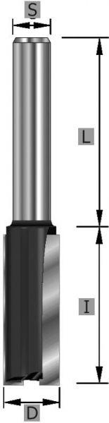 HW Nutfräser XL Z2 S8 x 53 mm